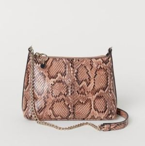 H&M pink beige snakeskin mini bag with chain strap